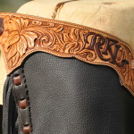Custom design dark brown topgrain leather, lace down leg.